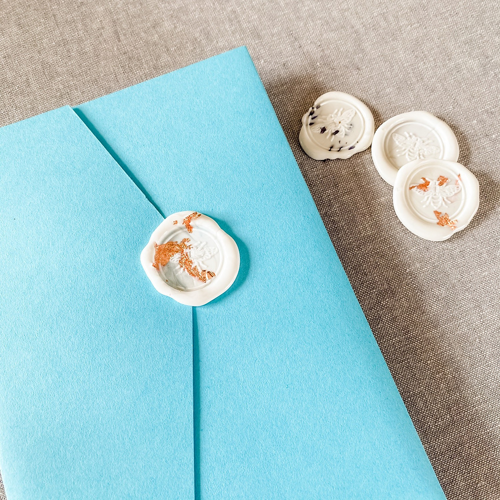 Wedding invitation with wax seals with foil and lavender buds