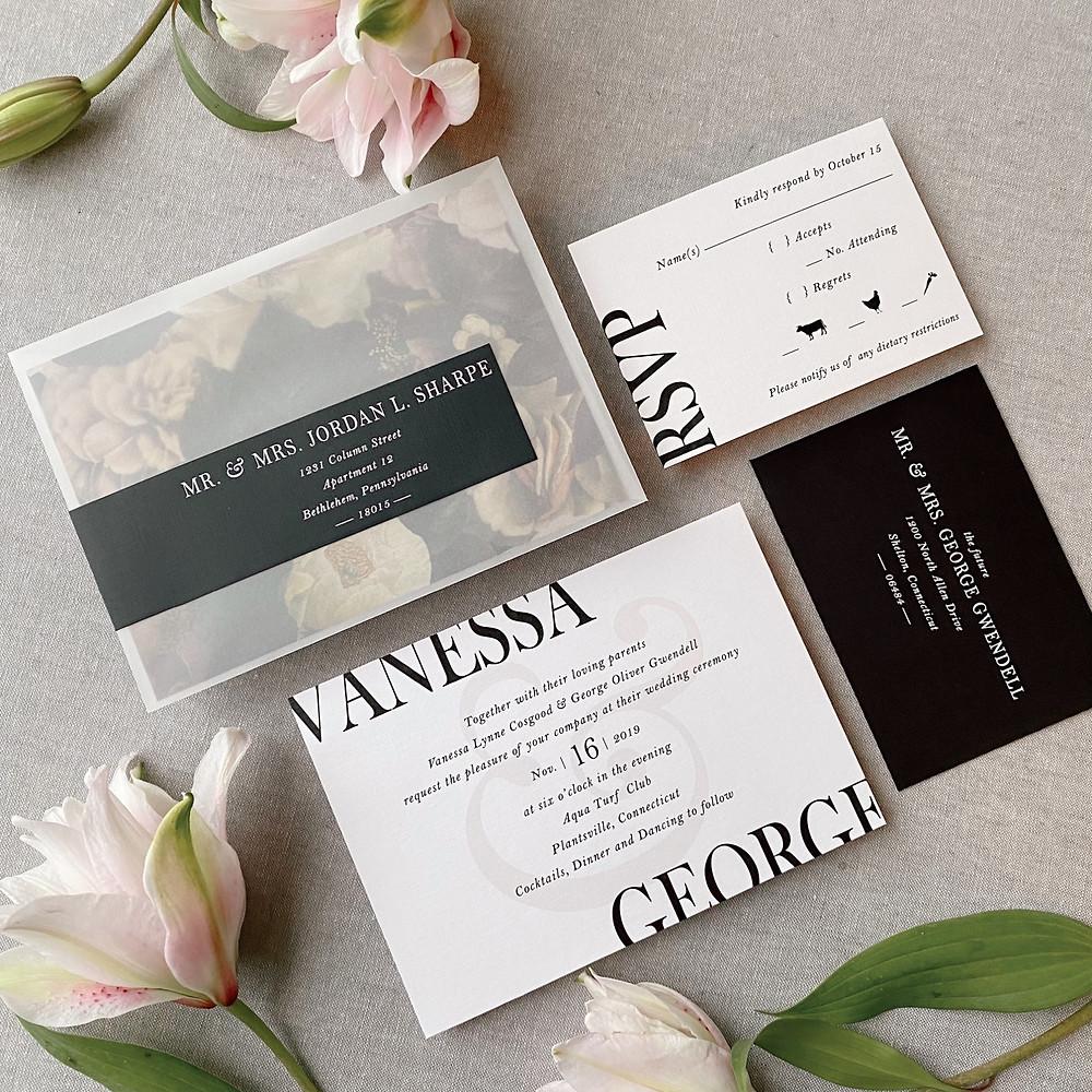 white address printing on black envelope wrap