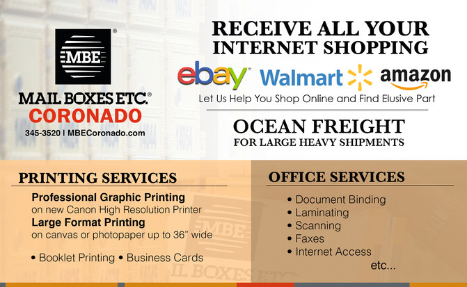 Printing, Shipping and Office Services in Coronado!