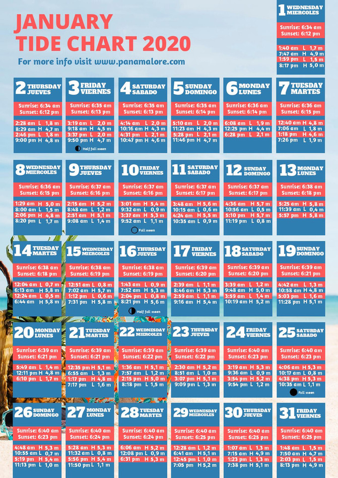 January 2020 Tide Chart