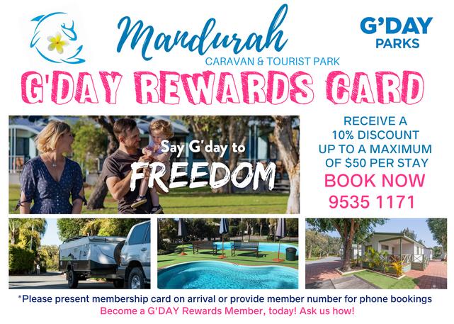 G'Day Parks Reward Card