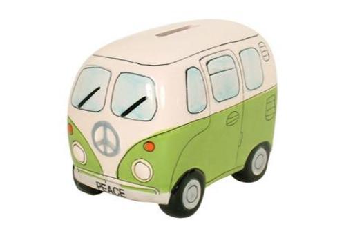 Peace Campervan Money Box Green