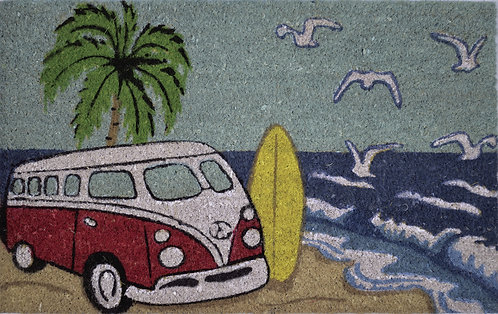 Kombi on The Beach Coir Doormat,Red