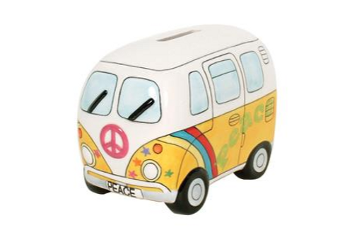 Peace Campervan Money Box Psyc Yellow