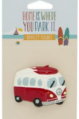 Campervan Red with Surfboard Magnet