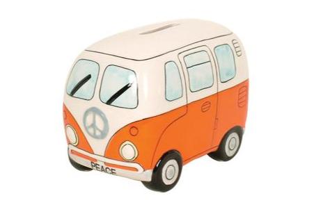 Peace Campervan Money Box Orange