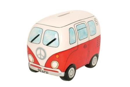 Peace Campervan Money Box Red