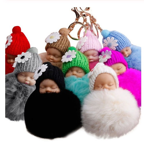 Sleeping Baby Doll Key Ring (Variety of Colours)