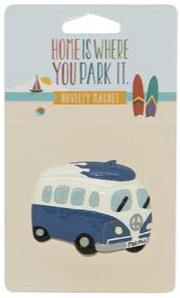 Campervan Blue with Surfboard Magnet