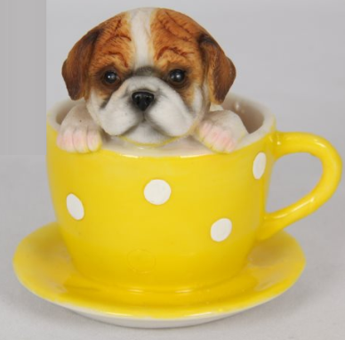 Spotty Teacup with Puppy Magnet