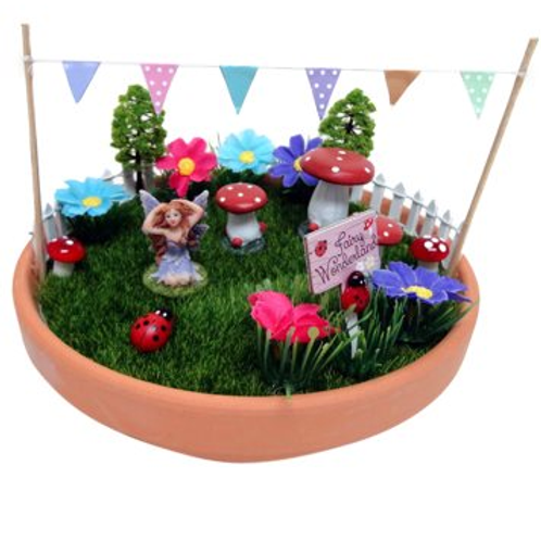 Fairy Pot Garden with bunting