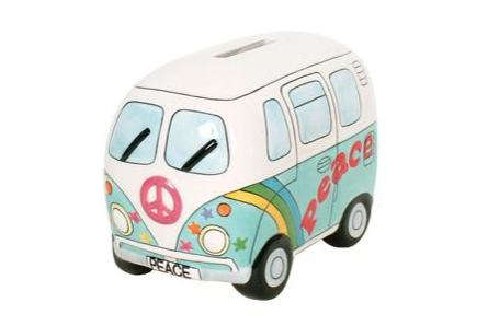 Peace Campervan Money Box Psyc Blue