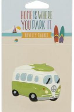 Campervan Green with Surfboard Magnet