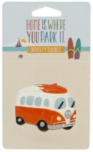 Campervan Orange with Surfboard Magnet