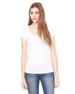 Bella + Canvas Ladies' Sheer Mini Rib Short-Sleeve Scoop Neck T-Shirt
