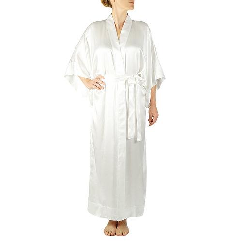 Classic Silk Kimono Robe Long   White