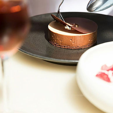Desserts to die for at Bennelong Restaurant Sydney. Chocolate cake from across the water &