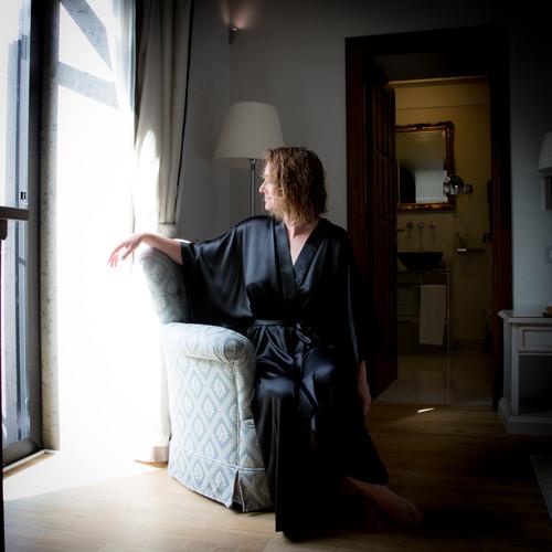 Boutique Black Black Silk Kimono Robe