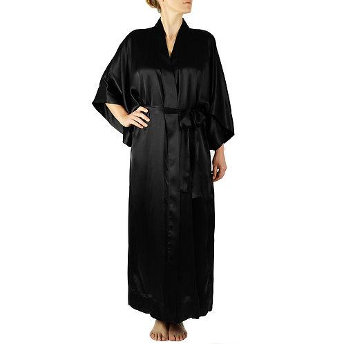 Classic Silk Kimono Robe Long | Black