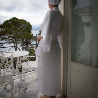 White Silk Kimono LL Window Capri