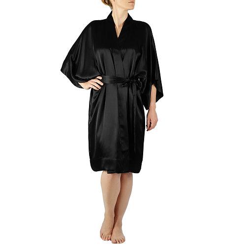 Classic Silk Kimono Robe Short | Black