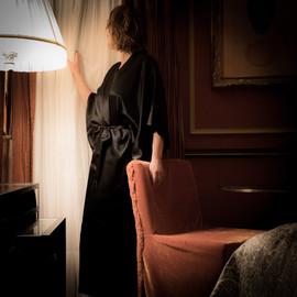 Boutique Black Silk Kimono Robe Classic