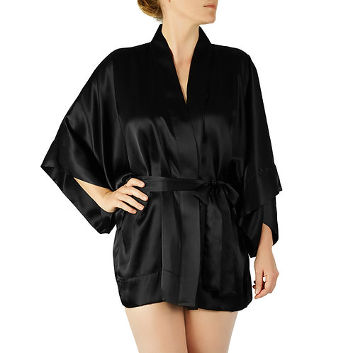 Classic Silk Kimono Jacket   Black