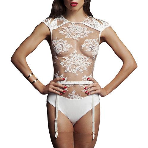Nadya Sheer Bodysuit with Swarovski Crystals & Suspender