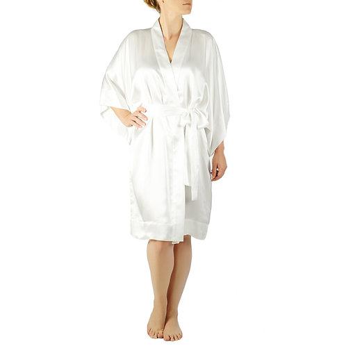 Classic Silk Kimono Robe Short | White