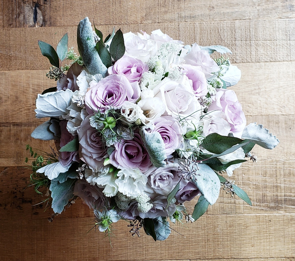 Bridal Bouquet with Lavender Roses, Seeded Eucalyptus, Lambs Ear, White Lisianthus, and White Lavendar.