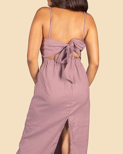 Tie- back cami casual dress- satin