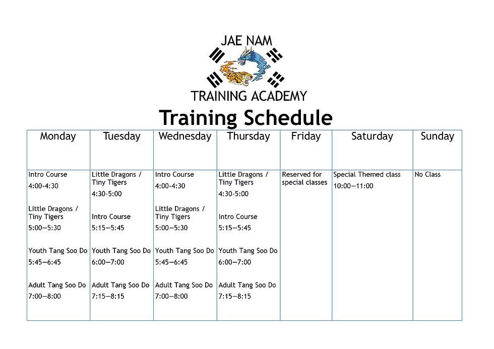 martial arts training schedule, karate training schedule