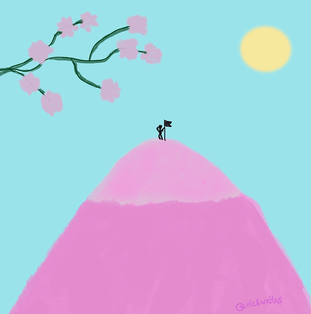 Illustration, on top of the world - man on a mountain with a flag, bitofselfcare.com