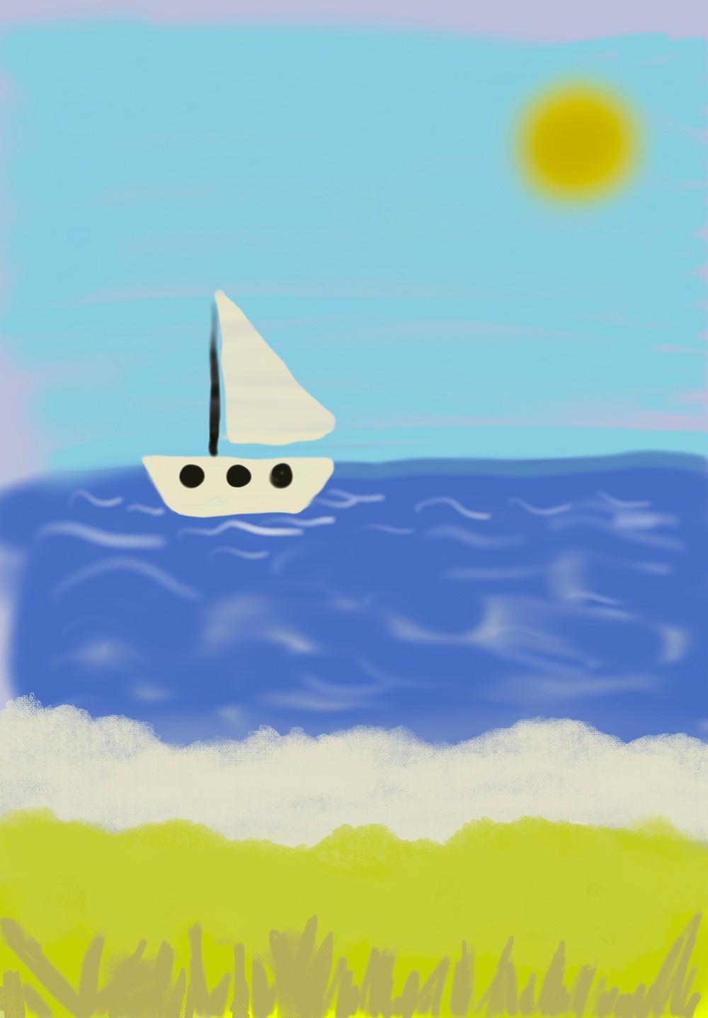 Procreate drawing of a ship. bitofselfcare.com