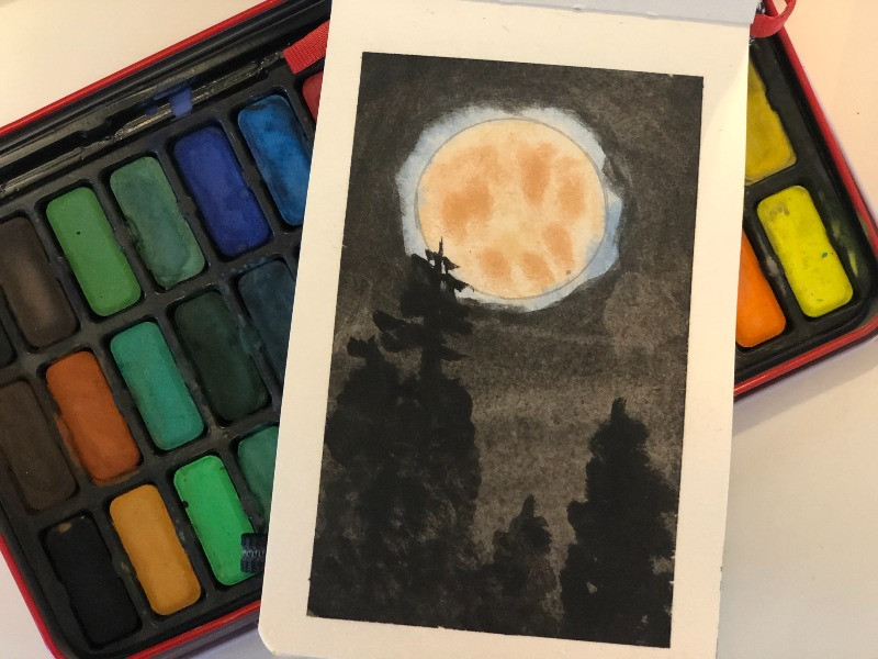 The paining of the moon and trees, bitofselfcare.com
