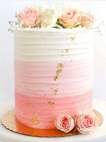 Pink ombré cake with fresh florals!