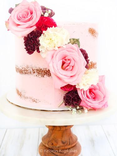 semi-naked floral cake