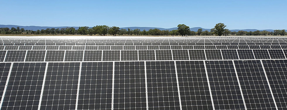 SAFEgroup Automation image of a solar panel farm in Western NSW with the mountain range in the background