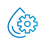 SAFEgroup Automation icon of a water droplet with a cog on front of it