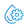 SAFEgroup Automation icon of a water droplet with a cog on top of it