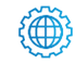 SAFEgroup Automation icon of a connected circle with a cog surrounding it