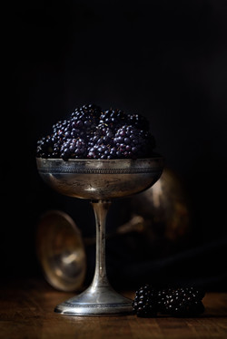 blackberries in a silver cup