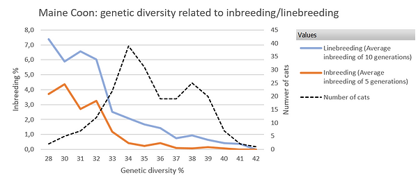Genetic diversity related to inbreedng or linebreeding within the Maine Coon breed