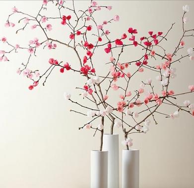 Arbres de printemps - papier de soie ou crépon sur branches