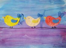 Jolie composition oiseaux sur le fil