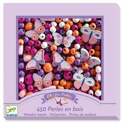 Perles en bois - Papillons