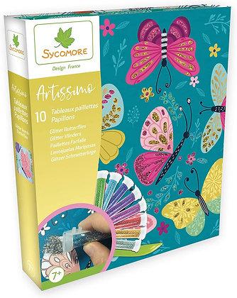 Artissimo - Grand modèle 10 Tableaux paillettes - Papillons