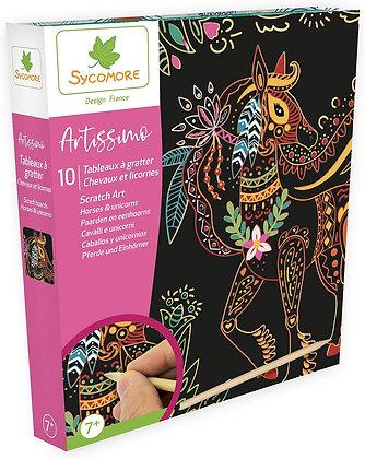 Artissimo - Grand modèle 10 Tableaux à gratter - Chevaux et Licornes