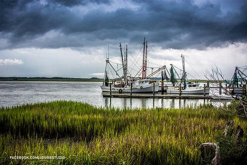 Dockside shrimp boats before the storm