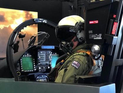 F-18 Motion Cockpit With Pilot